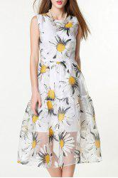 Sleeveless Floral Print White Sundress -