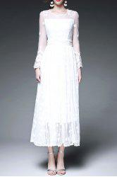Sheer Swing Tea Length Wedding Guest Dress - WHITE