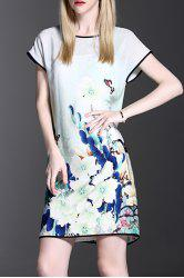 Contrasting Piped Graphic Silk Dress With Slip Dress -