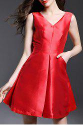 V-Neck Backless Bowknot Evening Dress -