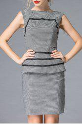 Boat Neck Houndstooth Bodycon Mini Dress -