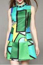 Sleeveless Geometric Print Mini Dress