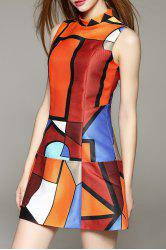 Sleeveless Geometric Print Mini Dress - ORANGE
