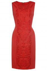 Sleeveless Embroidered Front Red Dress -
