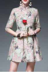 Mandarin Collar Floral Print Cheongsam Dress -