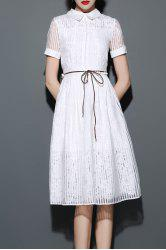 Flat Collar Stripe Shirt Dress -