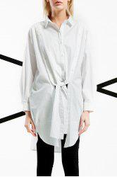 Tied Solid Color Long Shirt -