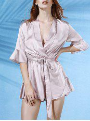 Trendy V-Neck Butterfly Sleeve Flouncing Spliced Wrap Romper For Women