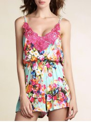 Stylish Cami Sleeveless Lace Spliced Floral Print Women's Playsuit -