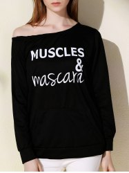 Stylish Slash Neck Letter Print Long Sleeves Sweatshirt For Women