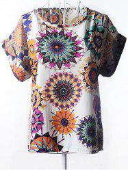 Graceful Plus Size Scoop Neck Floral Print Blouse For Women