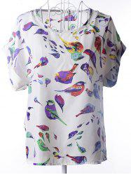 Simple Plus Size Scoop Neck Bird Pattern Blouse For Women