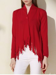 Stylish Solid Color One-Buttoned Long Sleeve Tassel Irregular Cardigan For Women -