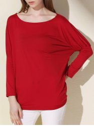Simple Scoop Neck Solid Color Long Sleeve T-Shirt For Women