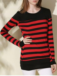 Long Sleeve Striped Tunic Tee - BLACK AND RED