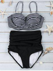 Spaghetti Strap Push-Up Stripe Print Swimsuit - BLACK