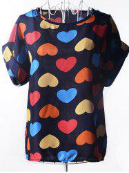 Trendy Plus Size Scoop Neck Colorful Heart Pattern Blouse For Women - CADETBLUE
