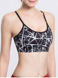 Strappy Print Racerback Sport Yoga Crop Top Bra - BLACK