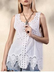 Embrodiered Cut Out Tank Top