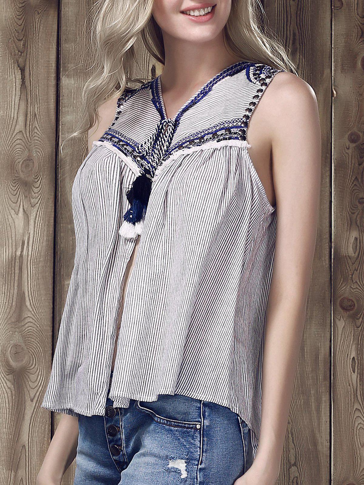 Latest Ethnic V-Neck Embroidered Striped Top For Women