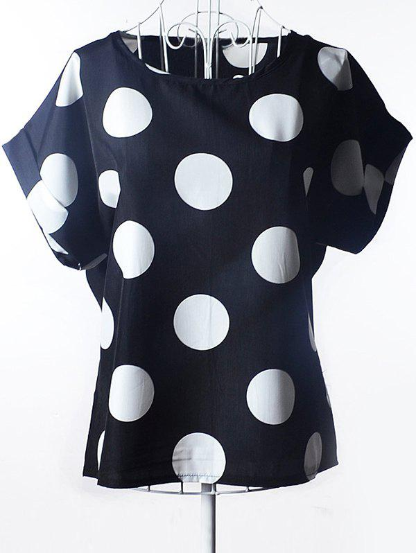 Simple Plus Size Scoop Neck Polka Dot Pattern Short Sleeves Blouse For WomenWOMEN<br><br>Size: 2XL; Color: BLACK; Material: Polyester; Shirt Length: Regular; Sleeve Length: Short; Collar: Scoop Neck; Style: Fashion; Season: Summer; Pattern Type: Polka Dot; Weight: 0.0890kg; Package Contents: 1 x Blouse;