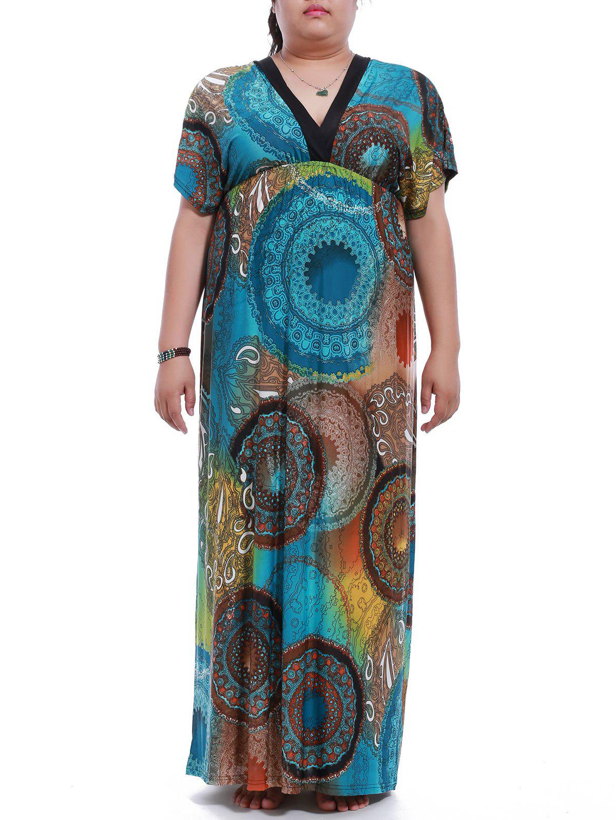 Shops Plus Size V-Neck Elastic Waist Print Maxi Dress