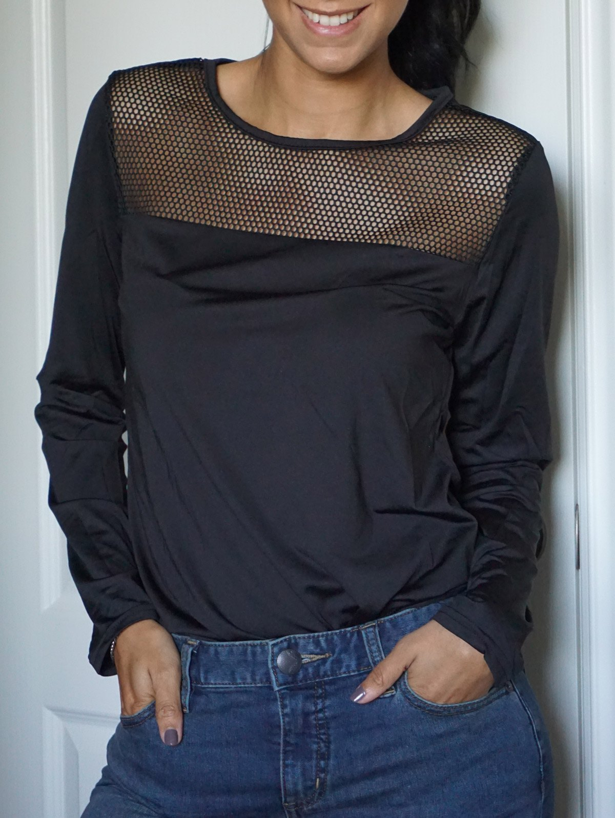 Black casual style scoop neck long sleeve spliced slimming for Long sleeve scoop neck shirt