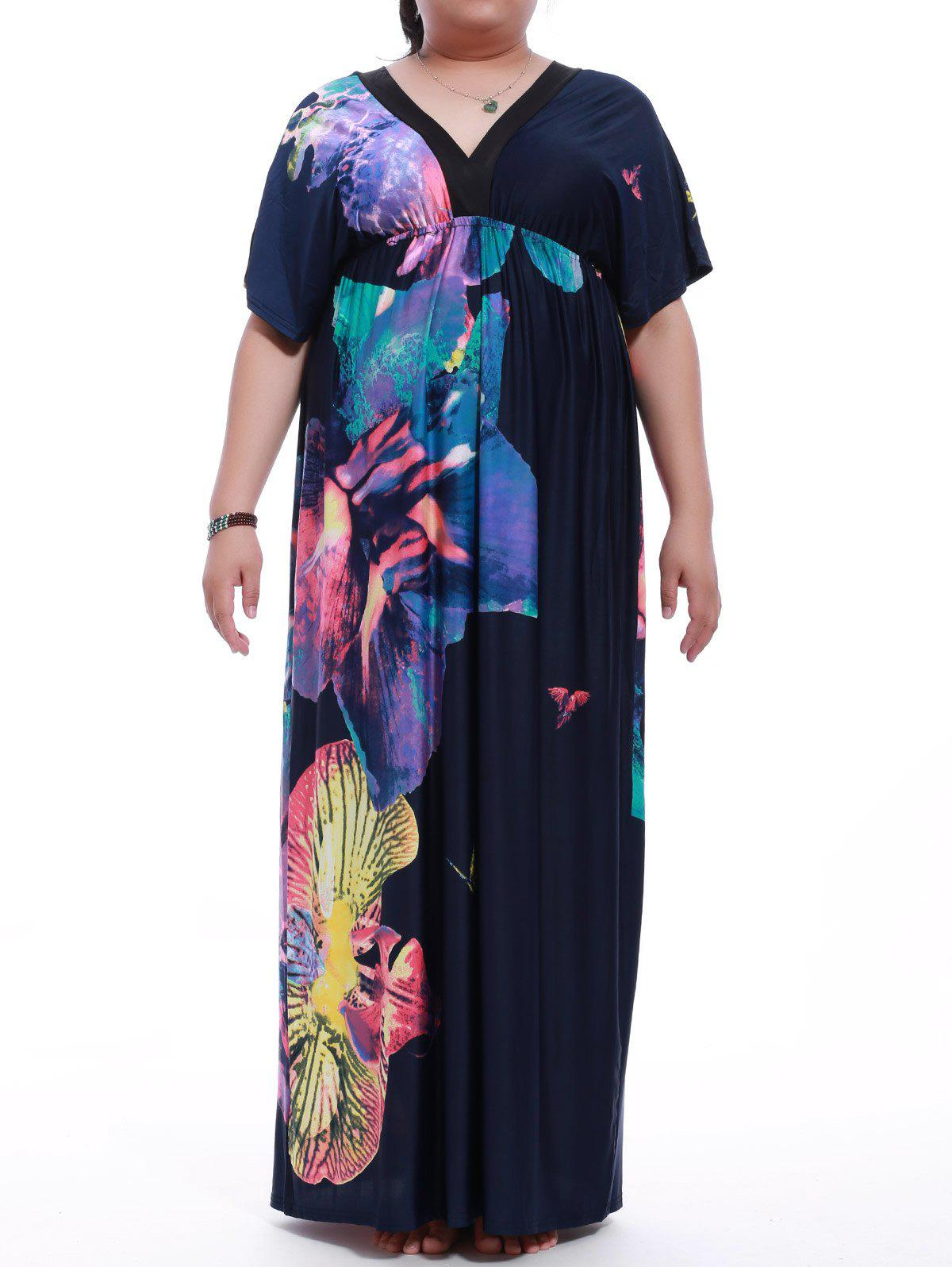 Affordable Plus Size Short Sleeve Print Maxi Dress
