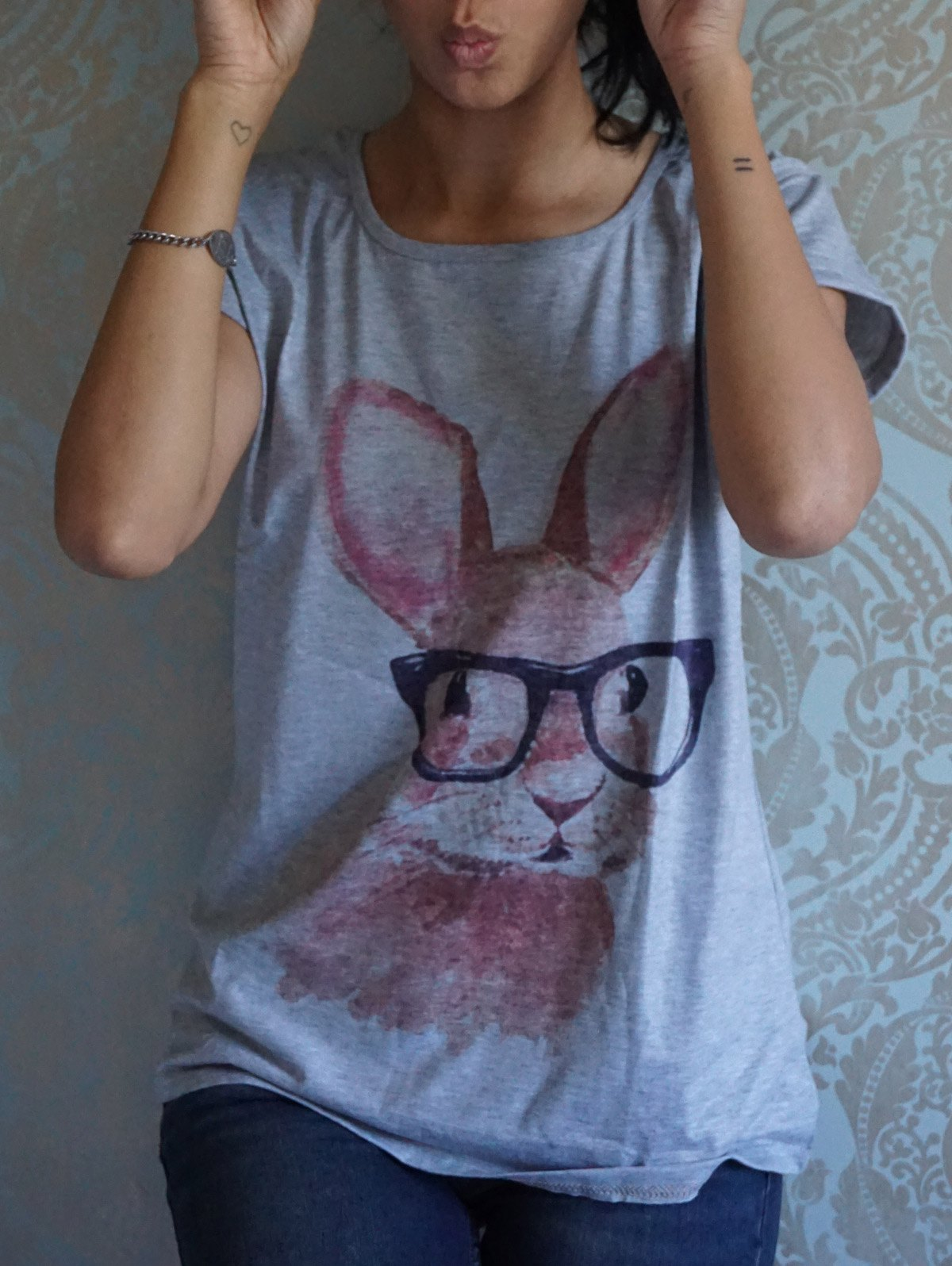 New Casual Scoop Neck Rabbit In Glasses Pattern Short Sleeves Women's T-shirt