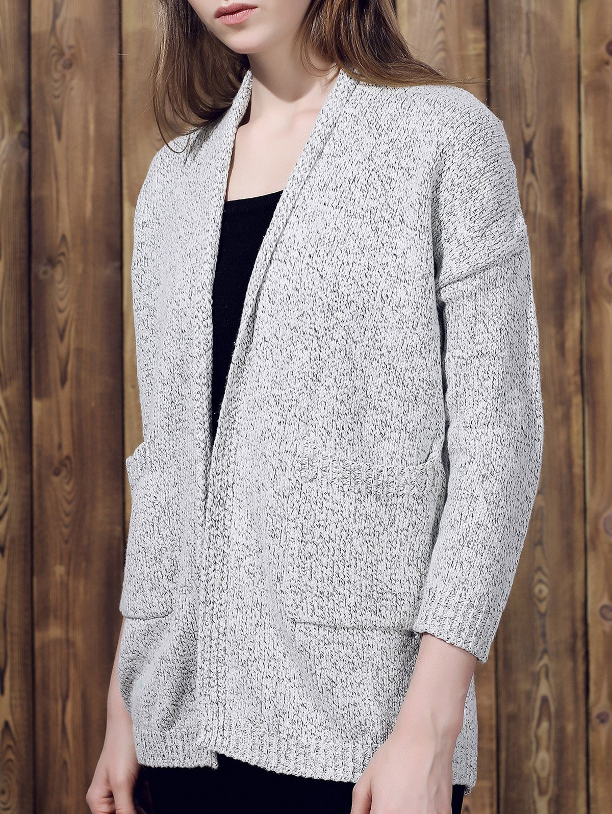 Collarless Long Sleeve Pocket Design Gray Cardigan 158901604