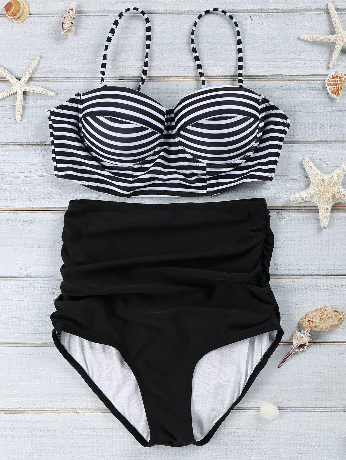 Outfit Spaghetti Strap Push-Up Striped Bikini Swimwear