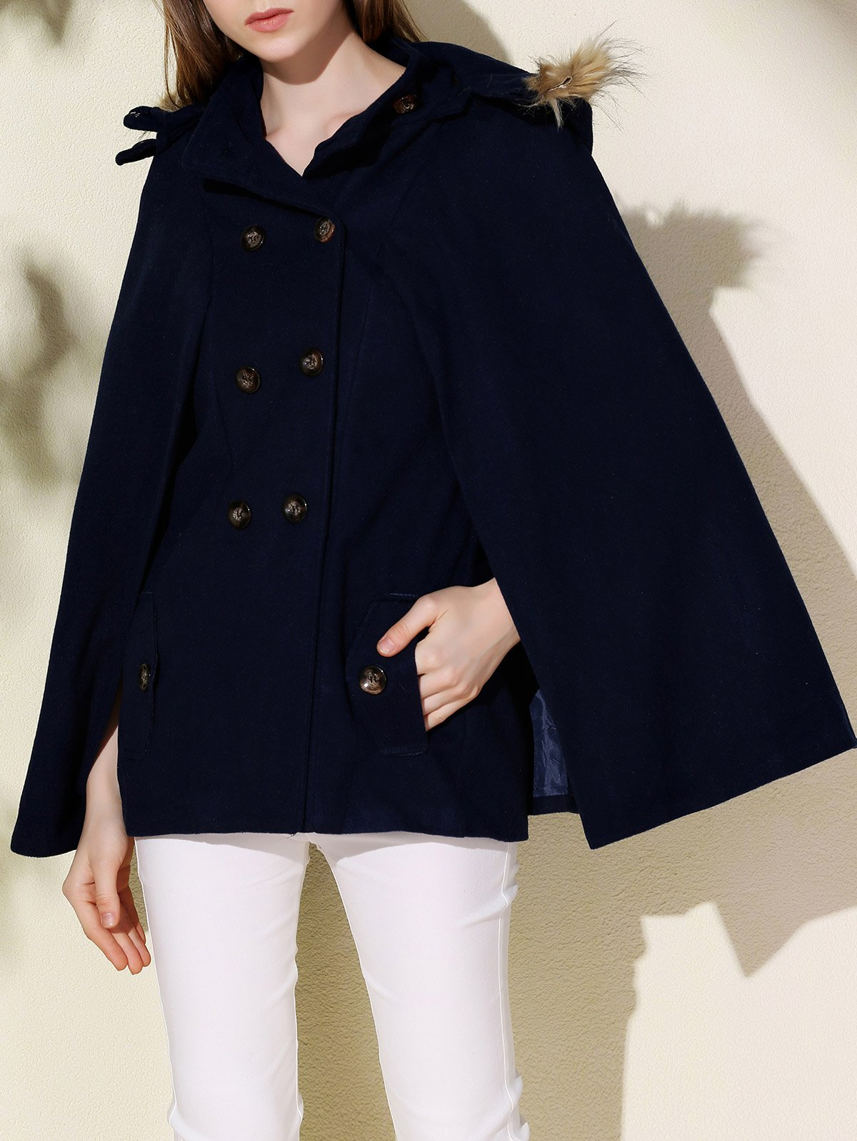 Affordable Sweet Hooded Batwing Sleeve Wool Coat For Women