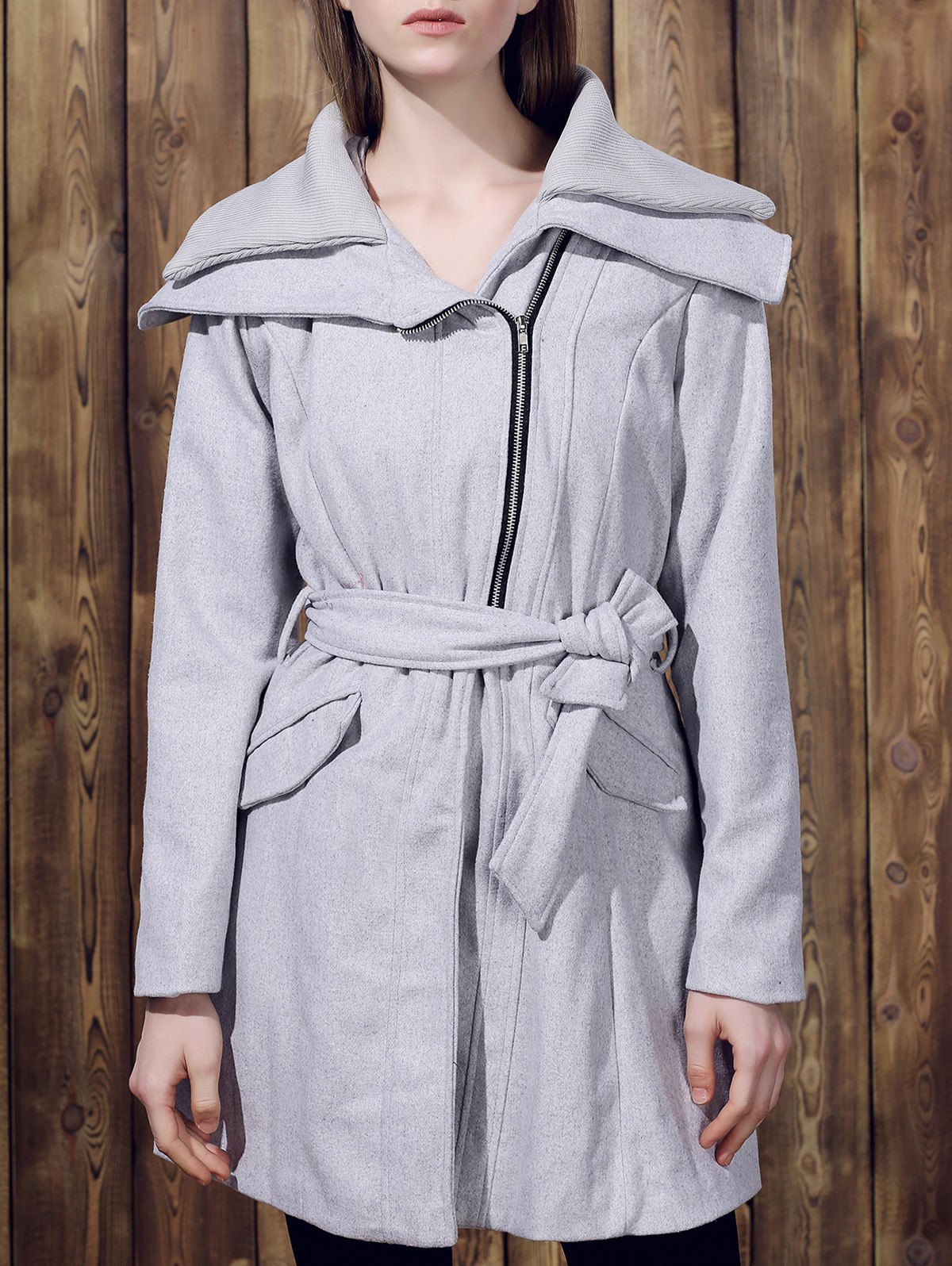 Online Stylish Turn-Down Collar Long Sleeve Zip Up Spliced Women's Belted Coat