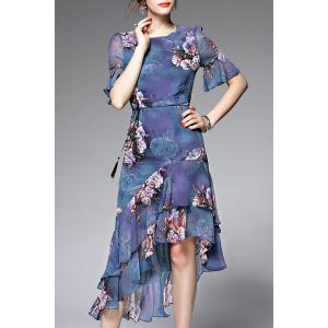 Asymmetric Flounce Floral Tea Length Dress - Blue - Xl