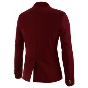 Stylish Lapel Color Block Splicing Slimming Long Sleeve Cotton Blend Blazer For Men -