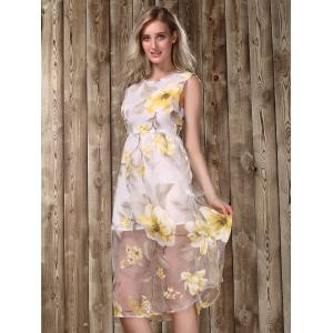 Midi Floral Print Dress - GOLDEN S