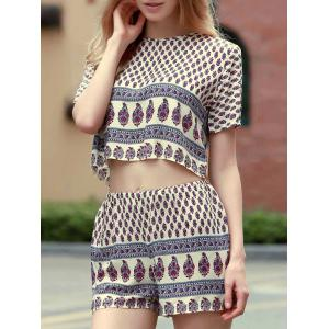 Short Sleeve Printed Cropped T-Shirt and Shorts Twinset For Women -