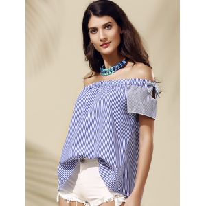 Stylish Off-The-Shoulder Striped Cut Out Women's Blouse -