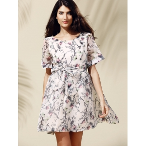 Sweet Short Sleeve Scoop Neck Floral Print Self-Tie Women's Dress -