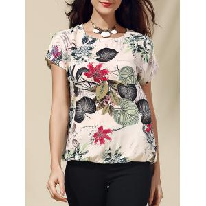 Short Sleeve Tropical Floral Print T-Shirt - Gray - 2xl