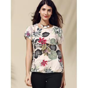 Short Sleeve Tropical Floral Print T-Shirt - GRAY L
