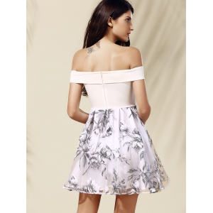 Off-The-Shoulder Organza Spliced Floral Ball Gown Dress -