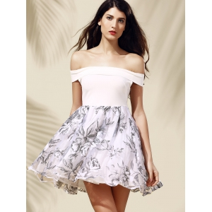 Off-The-Shoulder Organza Spliced Floral Ball Gown Dress - WHITE S