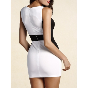 Sophisticated Round Collar Sleeveless Color Block Dress For Women -