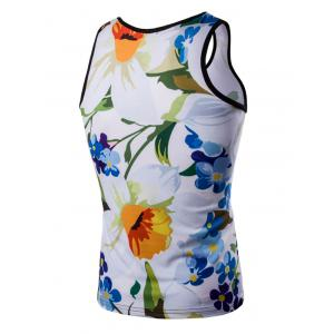 Casual 3D Round Neck Floral Printed Tank Top For Men - COLORMIX M