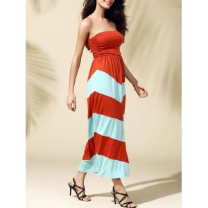 Bandeau Stripe Tube Top Strapless Maxi Summer Dress - Jacinth - Xl