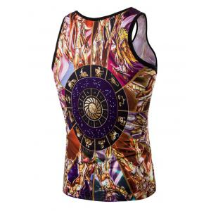 Fashion 3D Round Neck Cartoon Printed Tank Top For Men - COLORMIX M