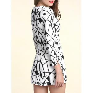 Fashionable Scoop Neck Long Sleeves Printed Dress For Women - WHITE S