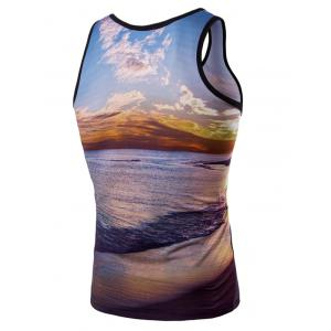 3D Round Neck Seaside Sunset Printed Tank Top For Men -