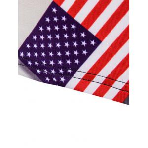 3D Slimming Fit Round Neck American Flag Printed Tank Top For Men - COLORMIX M